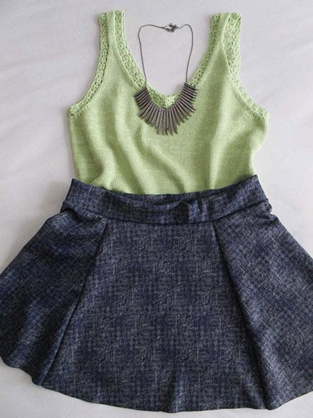 Mini saia godê azul mescla