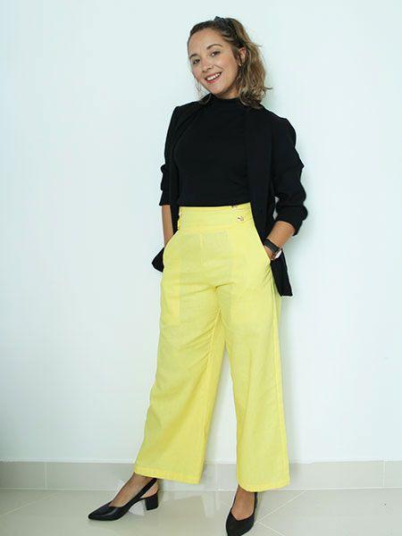 Pantalona linho amarela