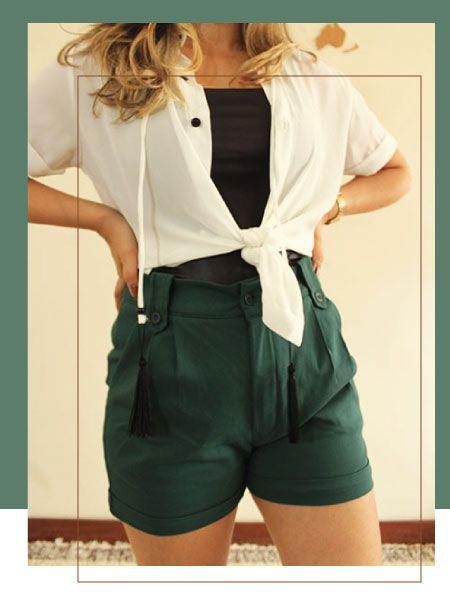 Short vintage verde