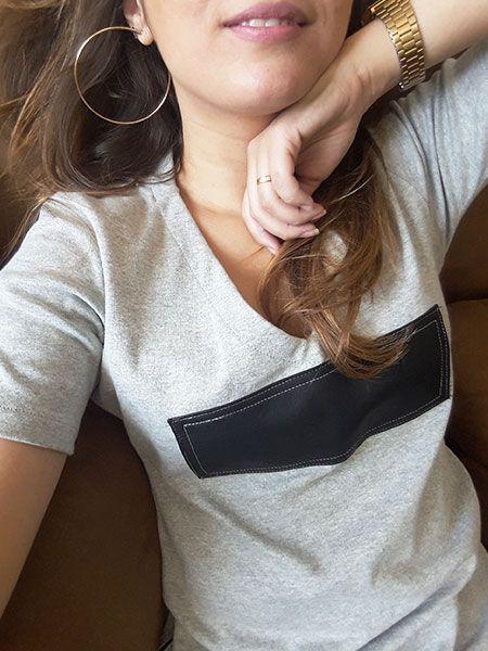 T-shirt couro cinza