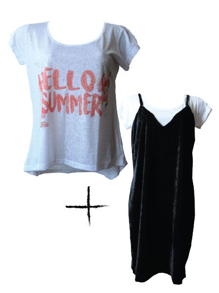 Combo T-shirt Hello Summer + Slip dress veludo preto