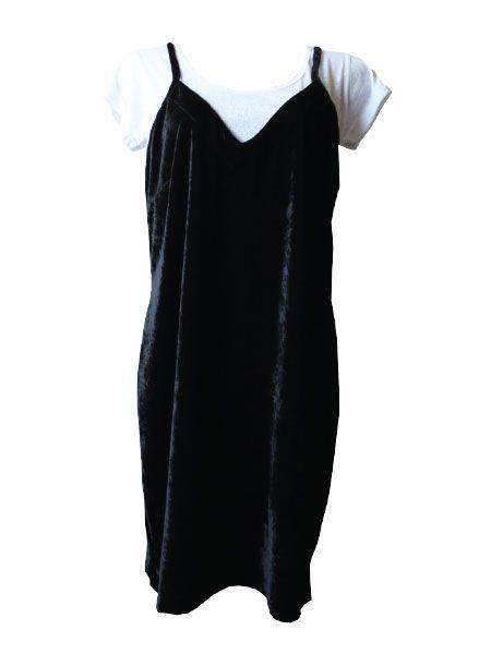 Combo T-shirt Hello Summer + Slip dress veludo preto