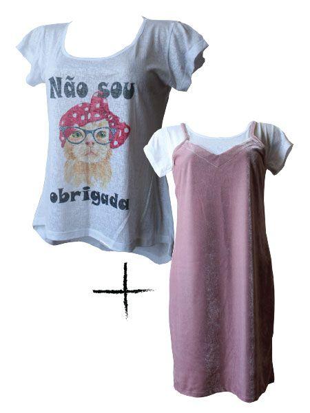 Combo T-shirt Não sou obrigada + slip dress veludo rosé
