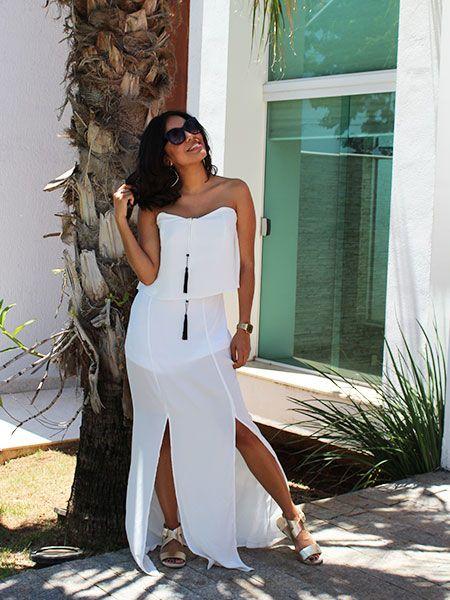 Vestido longo off white