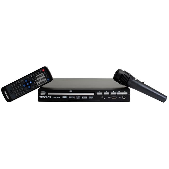 DVD PLAYER COMPACTO SLIM COM KARAOKÊ E MICROFONE, ENTRADA USB, 300 GAMES E 2 JOYSTICKS