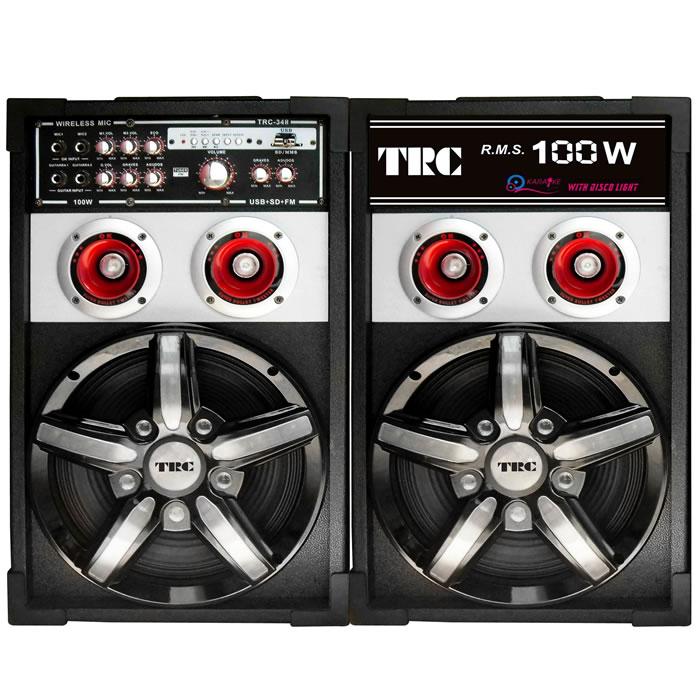 CAIXA DE SOM AMPLIFICADA COM ENTRADAS USB-SD, ILUMINAÇÃO FRONTAL, RADIO FM, 2 MICROFONES, 100 W POTÊNCIA