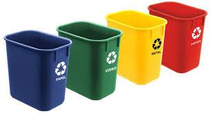 Cesto de Lixo Cônico com Cores e Adesivos para Coleta Seletiva