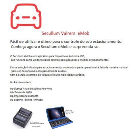 Kit Gestão de Estacionamentos Portátil eMob - Incluso Impressora Bluetooth e Tablet c/ Teclado