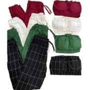 Conjunto Feminino Cropped Top Calça Jogger Xadrez Bengaline