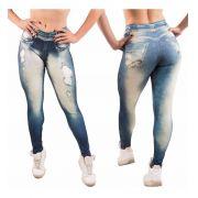 Kit 2 Calças Legging Leg Fake Imita Jeans Fitness Academia