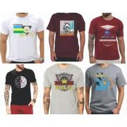 Kit 2 Camiseta Camisa Blusa Masculina Estampada Top Atacado