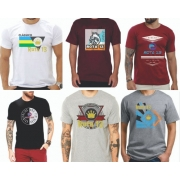 Kit 3 Camiseta Camisa Blusa Masculina Estampada Top Atacado