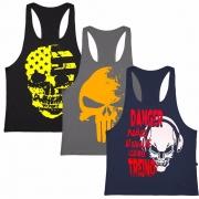 Kit 3 Camiseta Regata Masculina Cavadas Fitness Academia