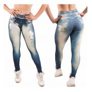 Kit 7 Calças Legging Leg Fake Imita Jeans Fitness Academia
