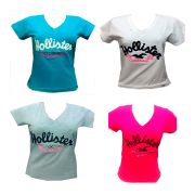 KIT 3 CAMISETAS T-SHIRTS FEMININA HOLLISTER