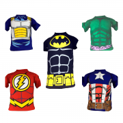 KIT 5 CAMISETAS INFANTIL PERSONAGENS SUPER HEROIS