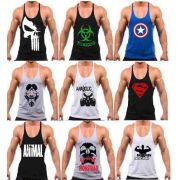 KIT 5 REGATAS MASCULINA FITNESS DIVERSAS ESTAMPAS