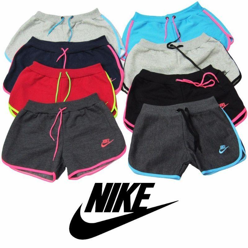 1 Kit C/10 Shorts Feminino Moleton 100% Algodão, Nike Lucre