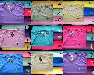 Kit C/ 30 Camisetas Masculinas Bordado no Peito Diversas Marcas