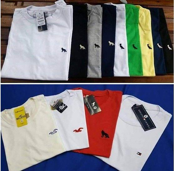 Kit C/ 40 Camisetas Masculinas Bordado no Peito Diversas Marcas