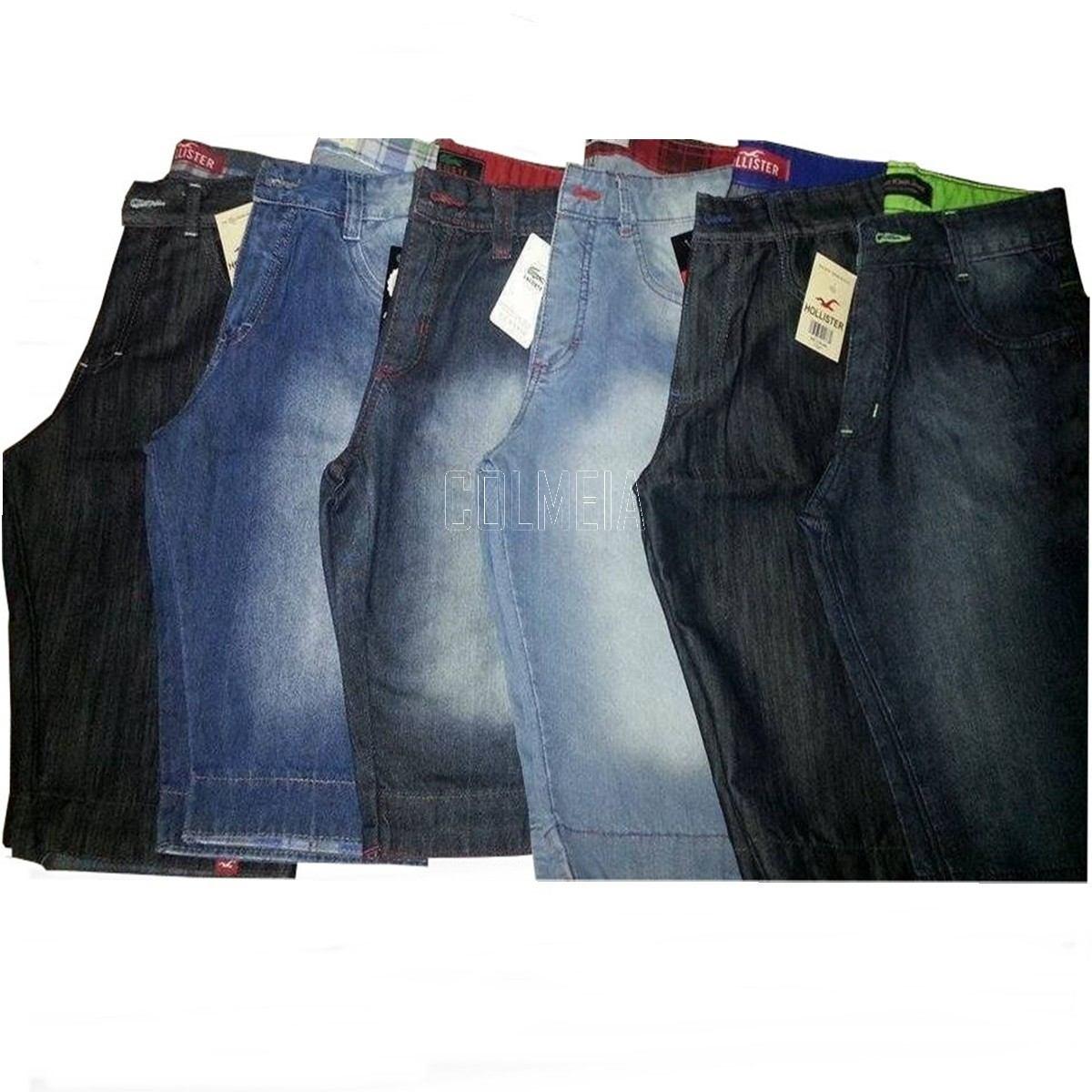 Kit C/ 40 Bermudas Jeans Masculina Diversas Marcas