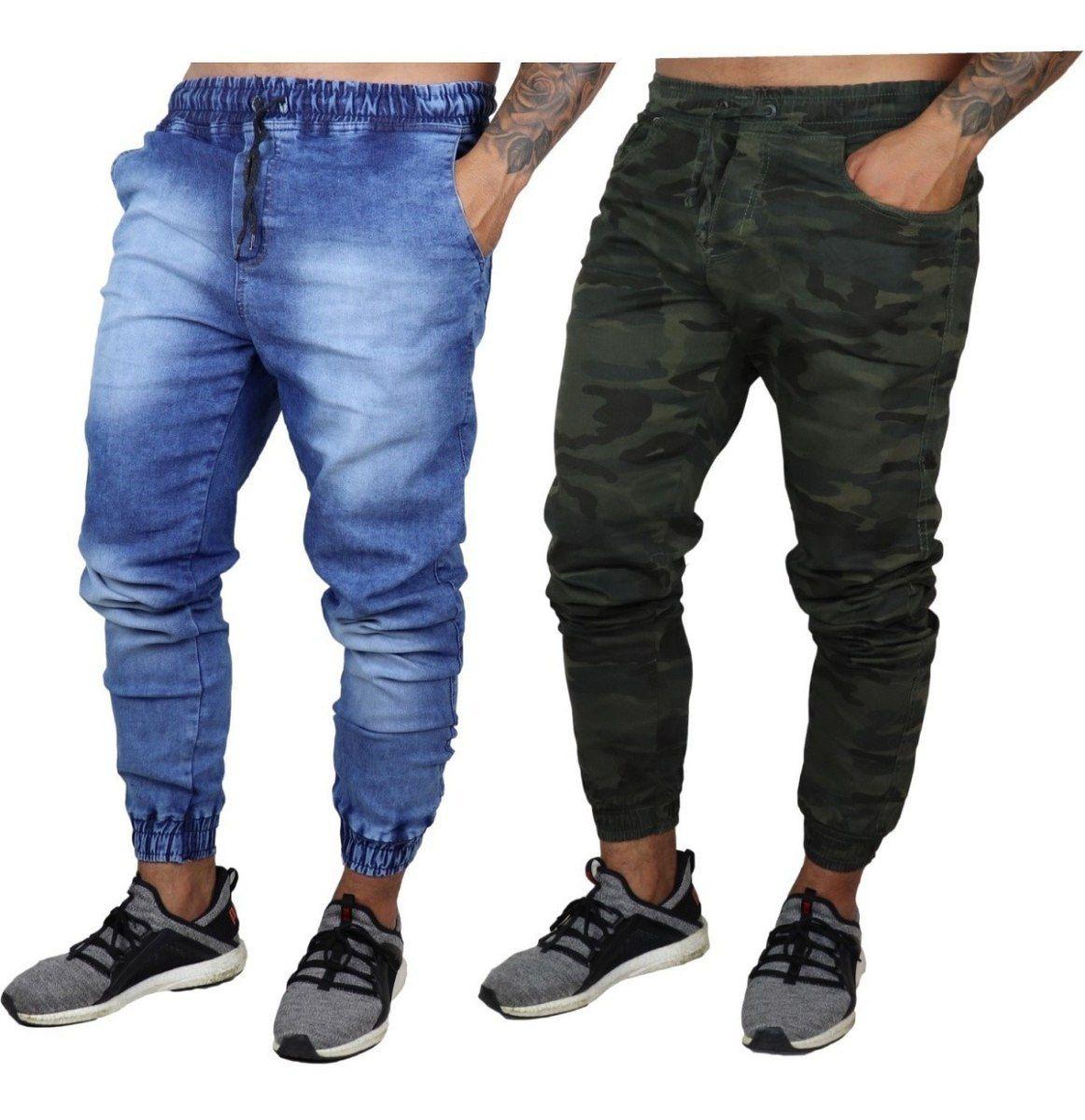 Kit 10 Calças Jeans Camuflada Lisa Masculina Jogger Punho Lycra