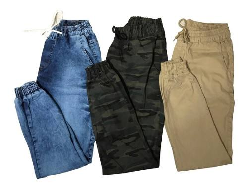 Kit 2 Calças Jeans Camuflada Lisa Masculina Jogger Punho Lycra