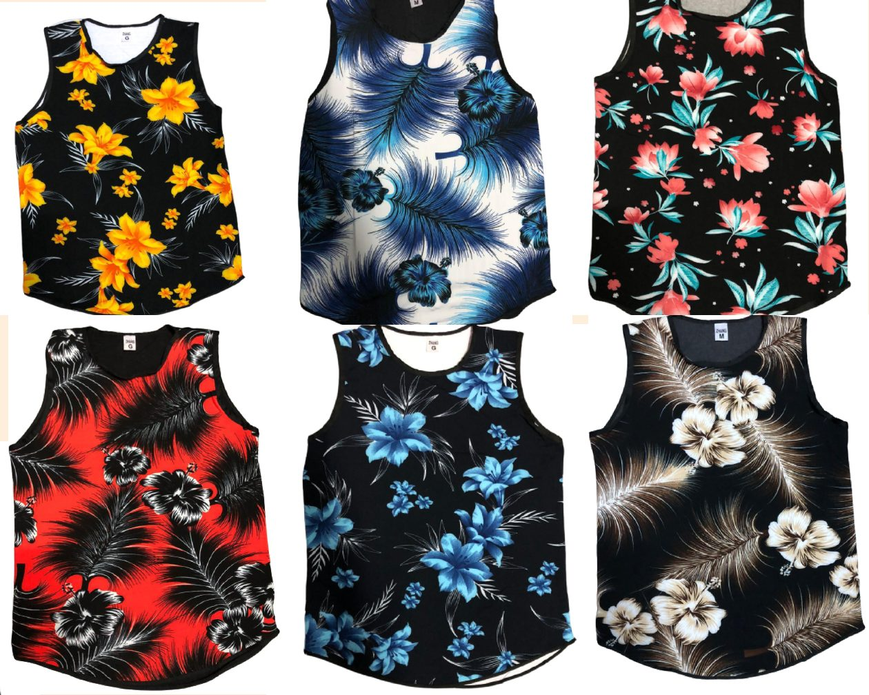 Kit 2 Regatas Camisetas Masculinas Long Ling Swag Florida Estampadas Floral