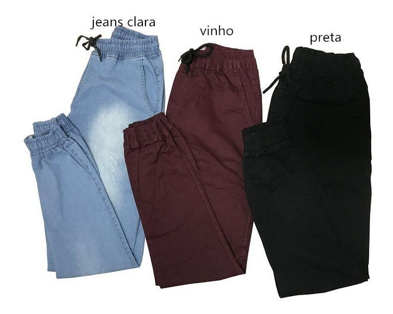 Kit 3 Calças Jeans Camuflada Lisa Masculina Jogger Punho Lycra