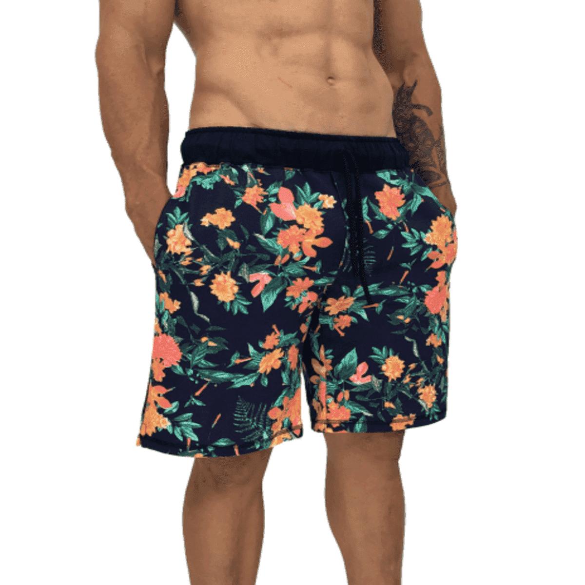 Kit 3 Short Bermuda Moletom Masculina Florida Floral Atacado