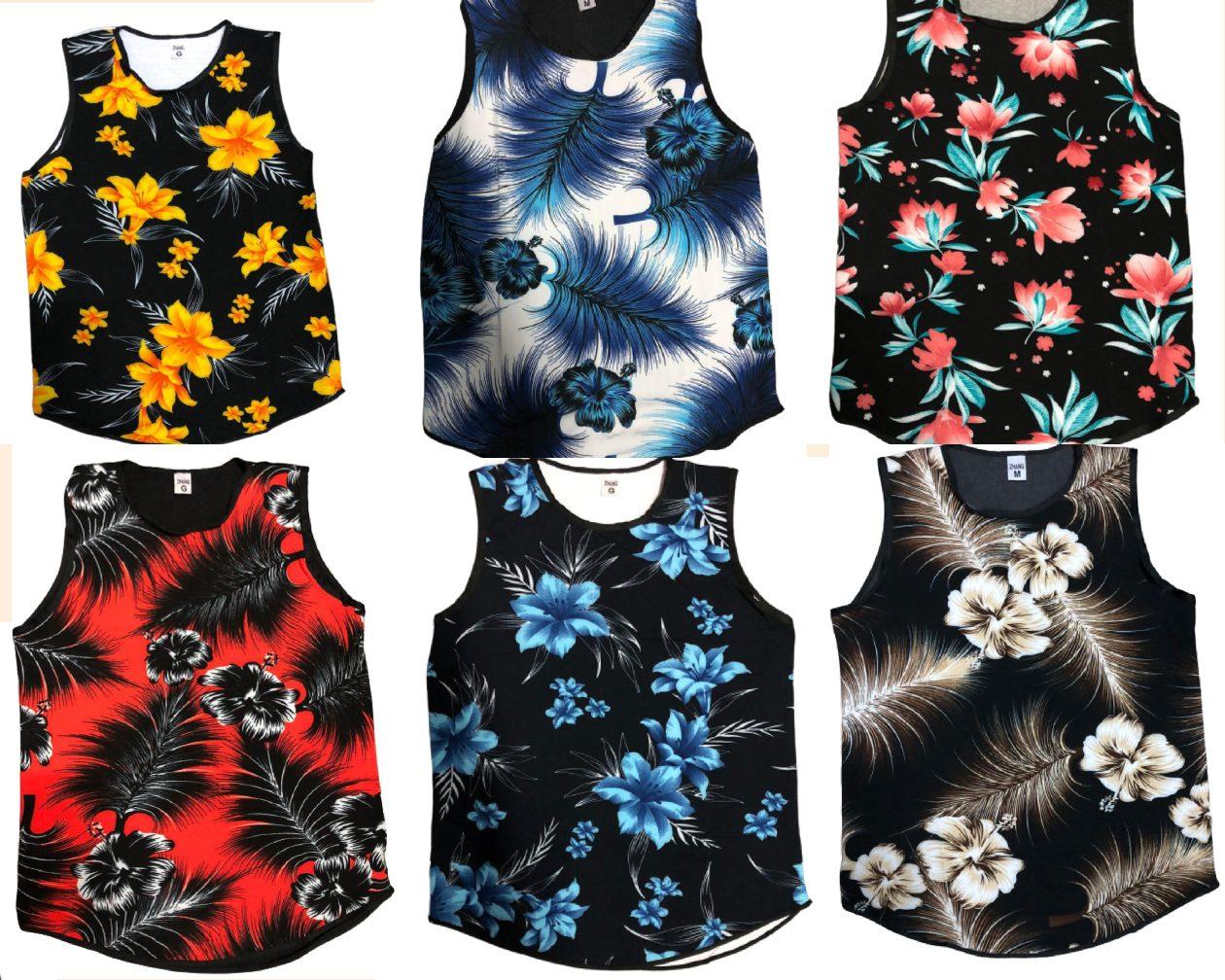 Kit 4 Regatas Camisetas Masculinas Long Ling Swag Florida Estampadas Floral