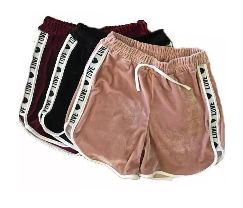 Kit 4 Shorts Casual Veludo Love Shortinho Feminino Atacado