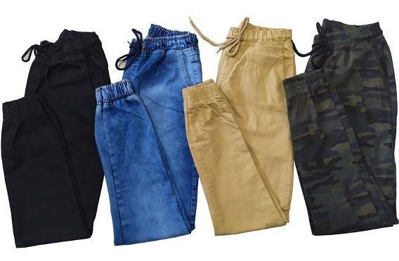 Kit 5 Calças Jeans Camuflada Lisa Masculina Jogger Punho Lycra