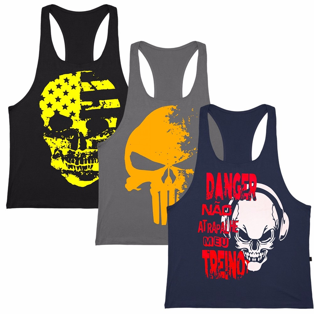 Kit 5 Camiseta Regata Masculina Cavadas Fitness Academia