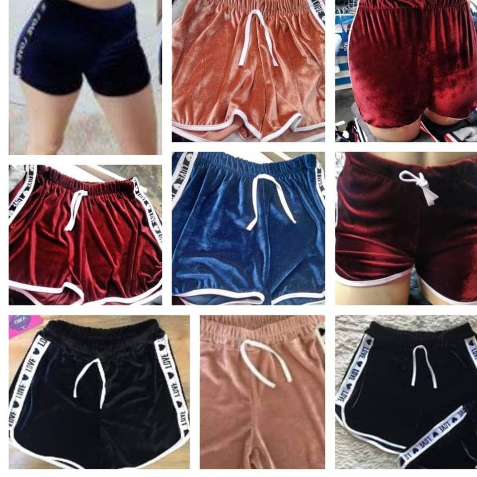 Kit 5 Shorts Casual Veludo Love Shortinho Feminino Atacado