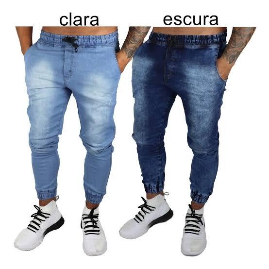 Kit 6 Calças Jeans Camuflada Lisa Masculina Jogger Punho Lycra