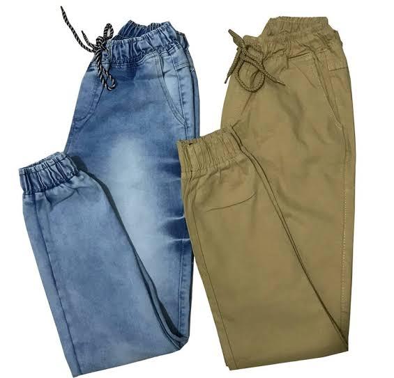 Kit 8 Calças Jeans Camuflada Lisa Masculina Jogger Punho Lycra