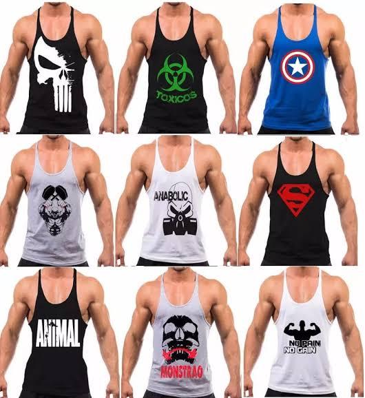 Kit 8 Camiseta Regata Masculina Cavadas Fitness Academia