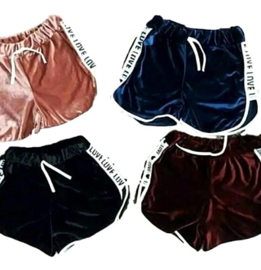 Kit 8 Shorts Casual Veludo Love Shortinho Feminino Atacado