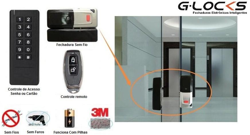 Fechadura Digital G-Locks GCA 15 Porta de Vidro