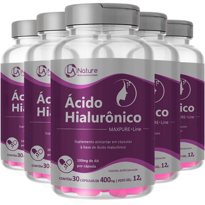 Ácido Hialurônico Concentrado MaxPure Line Original 400mg - 5 Potes (150 cáps)