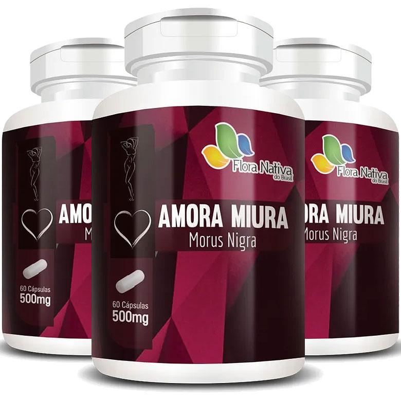Amora Miúra Morus Nigra - A Legítima 500mg - 3 Potes (180 cáps.)