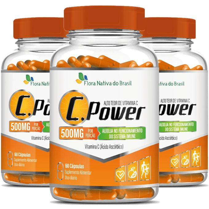C.Power 500mg - Alto Teor de Vitamina C - 3 Potes (180 cáps.)