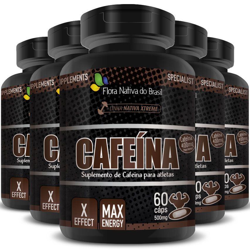 Cafeína Anidra Max Energy 500mg - 5 Potes (300 cáps)