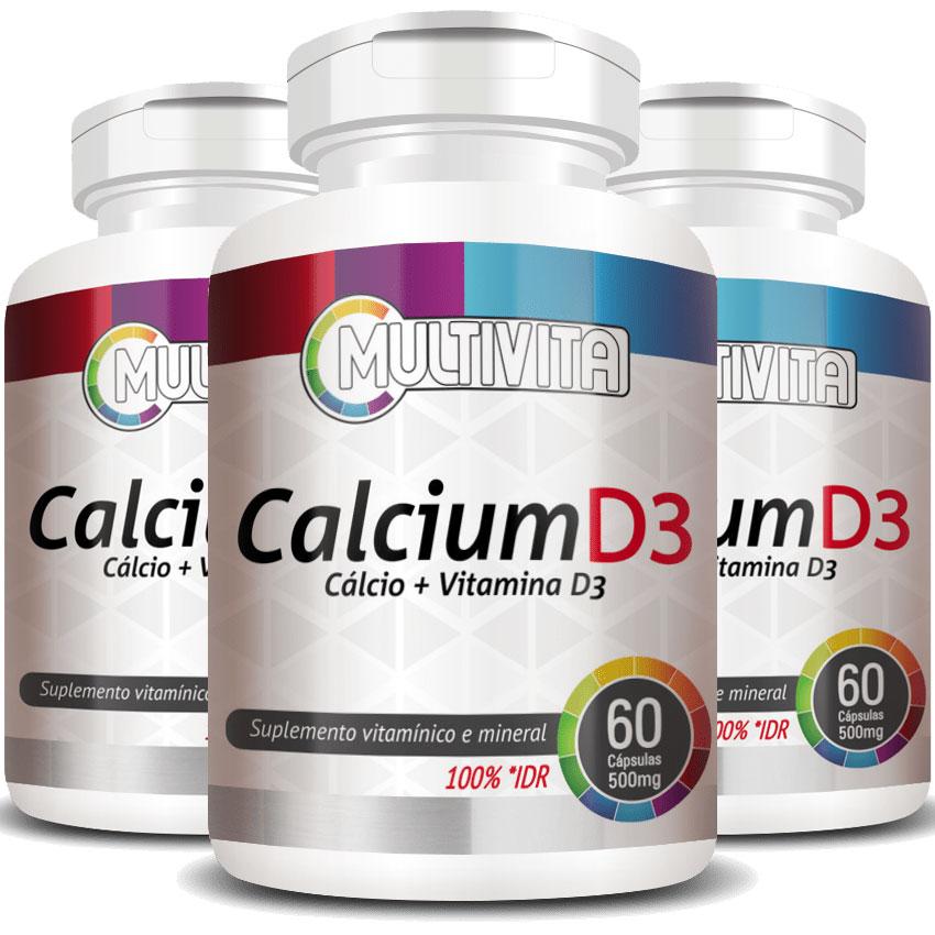Calcium D3 500mg - Cálcio + Vitamina D3 - 3 Potes (180 cáps.)