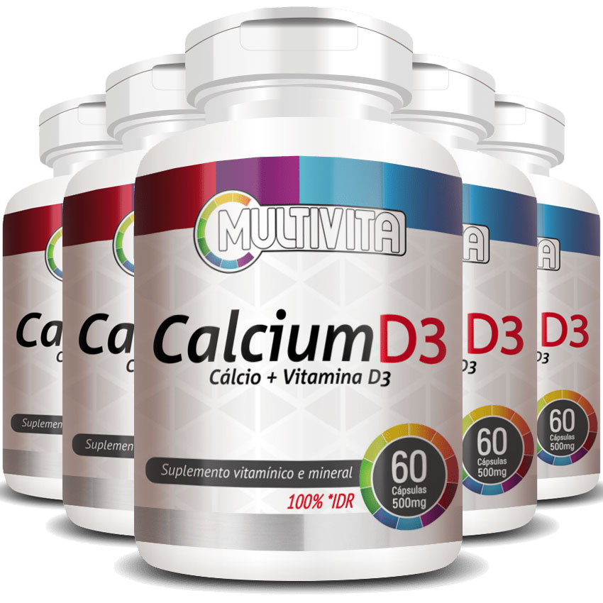 Calcium D3 500mg - Cálcio + Vitamina D3 - 5 Potes (300 cáps.)
