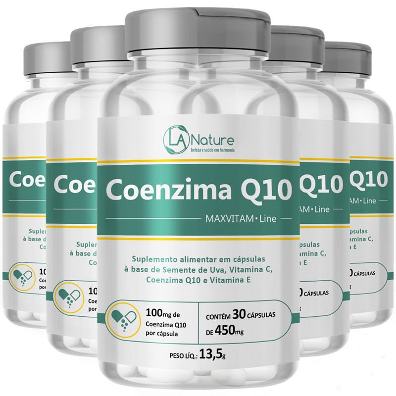 Coenzima Q10 Coq10   MaxVitam Line Original - 5 Potes (150 cáps)