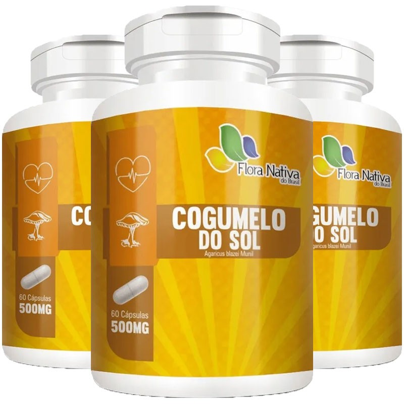 Cogumelo do Sol Agaricus Blazei Munil 500mg - 3 Potes (180 cáps)