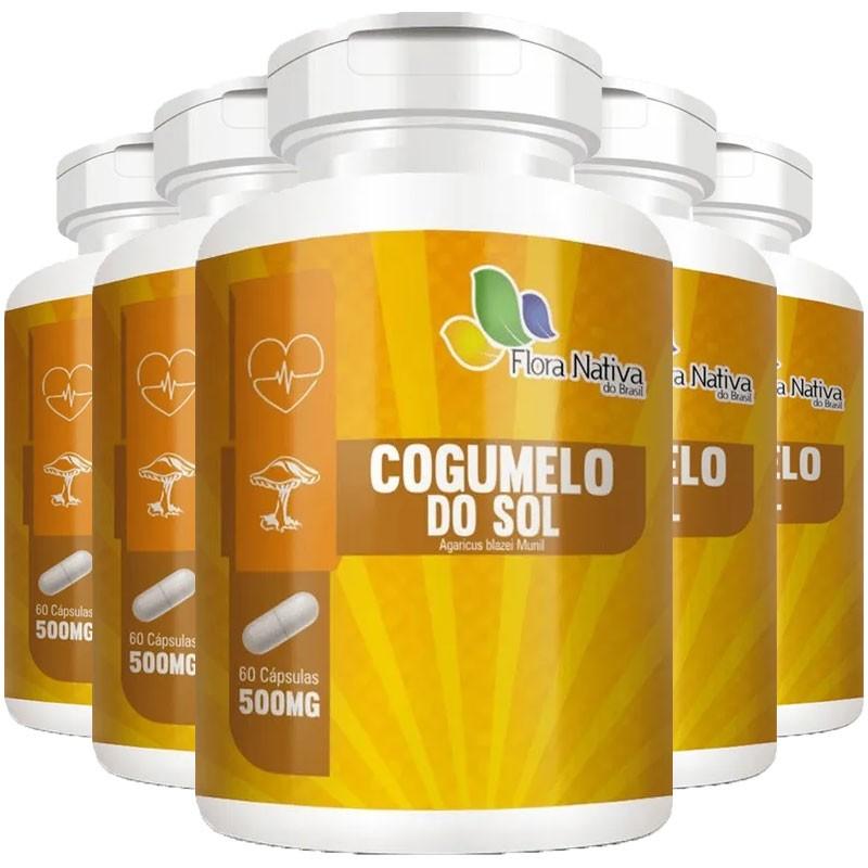 Cogumelo do Sol Agaricus Blazei Munil 500mg - 5 Potes (300 cáps)