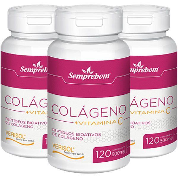 Colágeno Verisol Bioativo + Vitamina C 500mg - 3 Potes (360 compr.)